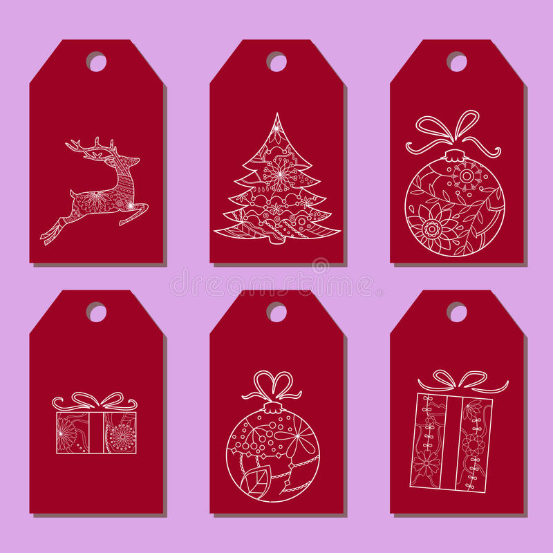 Satz einfache Weihnachtstags stock abbildung