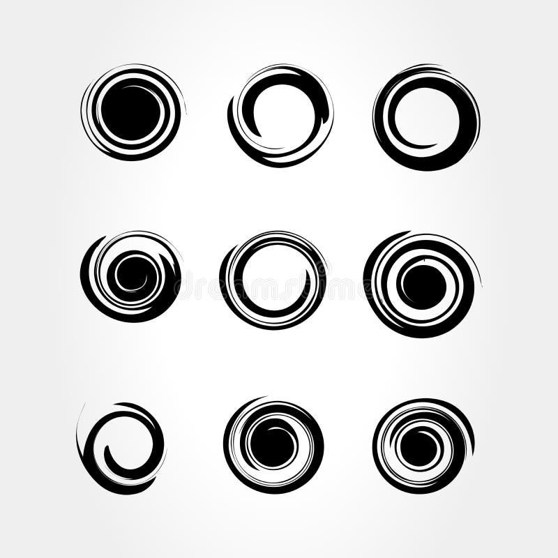 Satz einfacher schwarzer Spiralelemente auf weißem Hintergrund, isolierte Vektor-Abbildung vektor abbildung