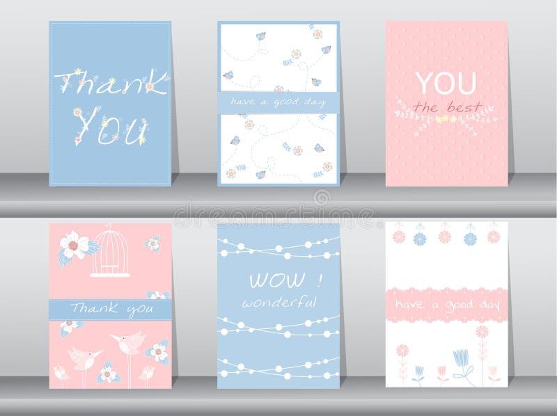 Satz Einladungskarten, danke Karten, Plakat, Schablone, Grußkarten, Tiere, Vögel, Blumen, Vektorillustrationen lizenzfreie abbildung