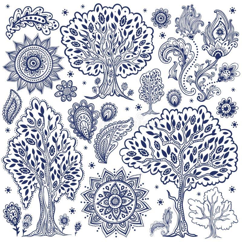 Satz einzigartige ethnische Bäume und Blumen stock abbildung
