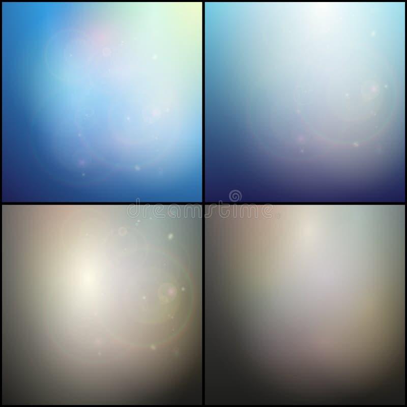 Satz elegante abstrakte blaue und graue Hintergründe lizenzfreie abbildung