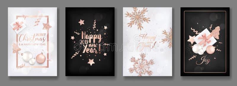 Satz elegante frohe Weihnacht-und des neuen Jahr-2019 Karten mit dem Glänzen von Rose Gold Glitter Christmas Balls, Sterne, Schne lizenzfreie abbildung