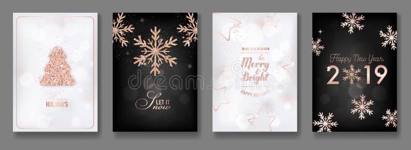Satz elegante frohe Weihnacht-und des neuen Jahr-2019 Karten mit dem Glänzen von Rose Gold Glitter Christmas Balls, Sterne, Schne vektor abbildung