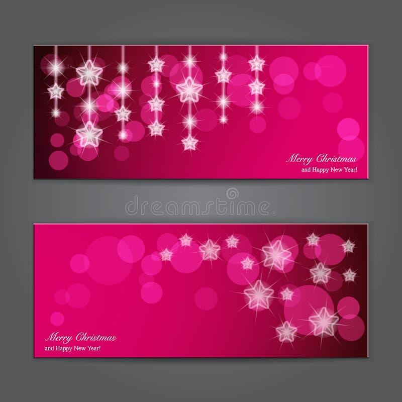 Satz elegante Weihnachtsfahnen mit Sternen. lizenzfreie abbildung