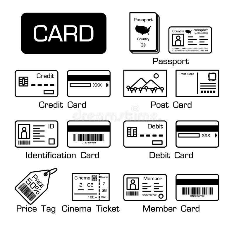 Satz elektronische Karten und andere Karten lizenzfreie abbildung