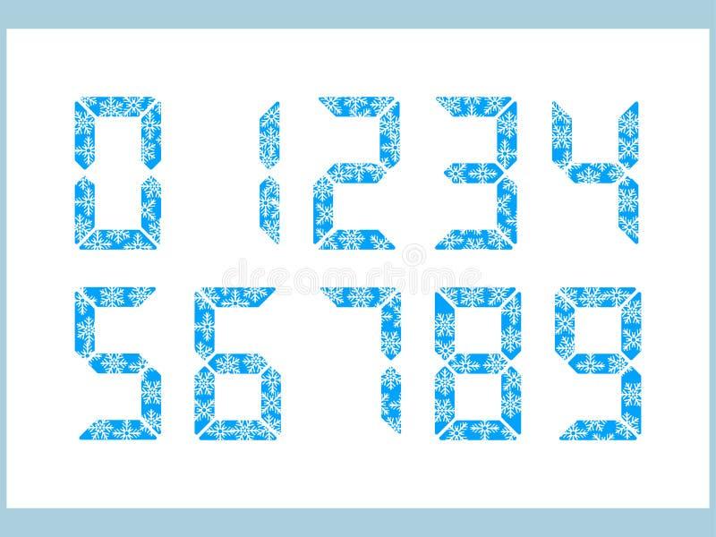 Satz elektronische Uhr-Symbole mit Schneeflocken-Winter lizenzfreie stockfotografie