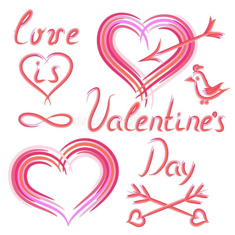 Satz Elemente des Handabgehobenen betrages am Valentinstag stockbilder