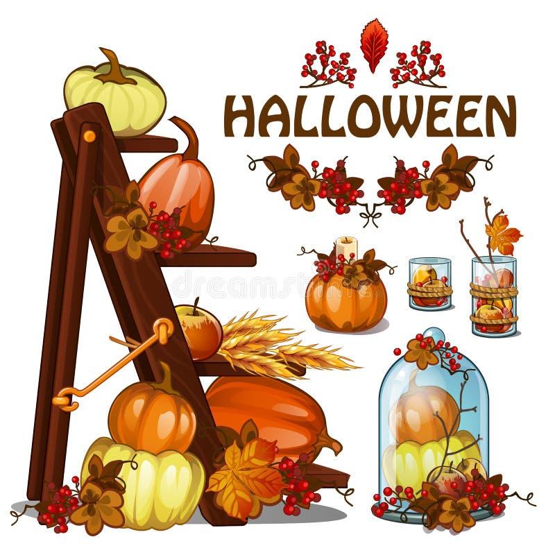 Satz Elemente, zum eines Plakats auf Thema von Halloween-Urlaubsparty, Grußkarte herzustellen auf Thema des goldenen Herbstes gef stock abbildung