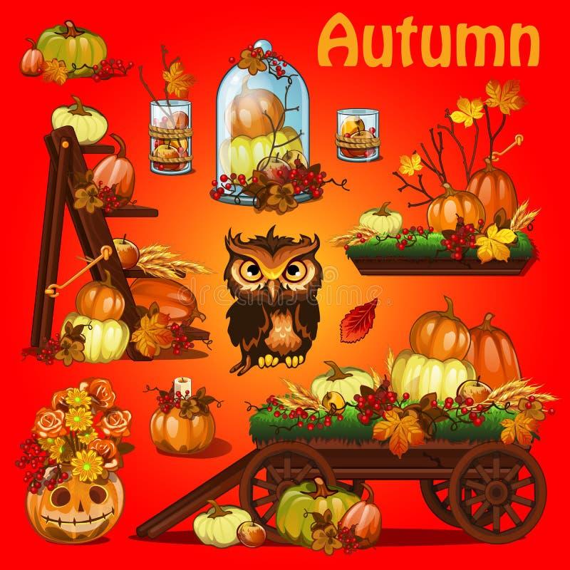 Satz Elemente, zum eines Plakats auf Thema von Halloween-Urlaubsparty, Grußkarte herzustellen auf Thema des goldenen Herbstes gef lizenzfreie abbildung