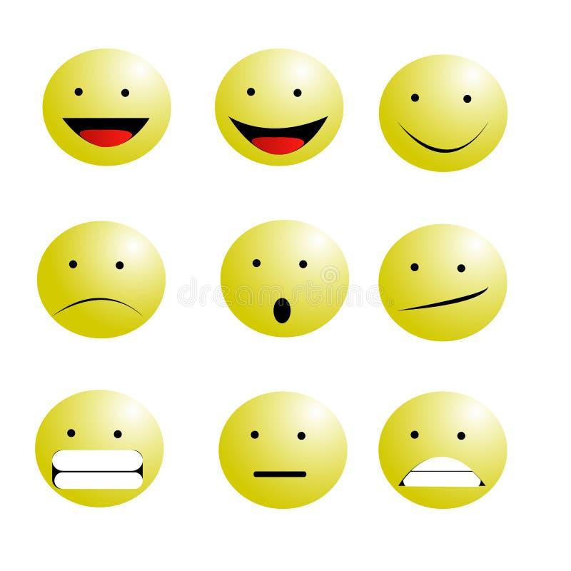 Satz Emoticons Emoji-Lächelnikonen vector Illustration auf weißem Hintergrund stock abbildung