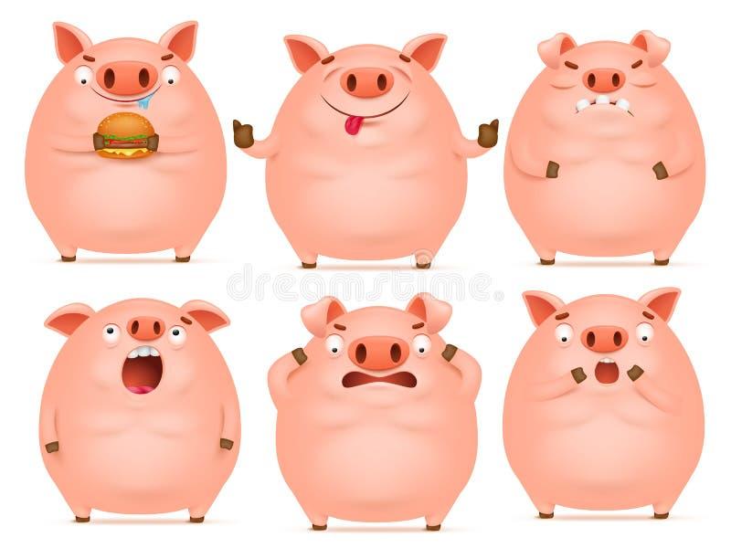 Satz emotionale rosa Schweincharaktere der netten Karikatur vektor abbildung