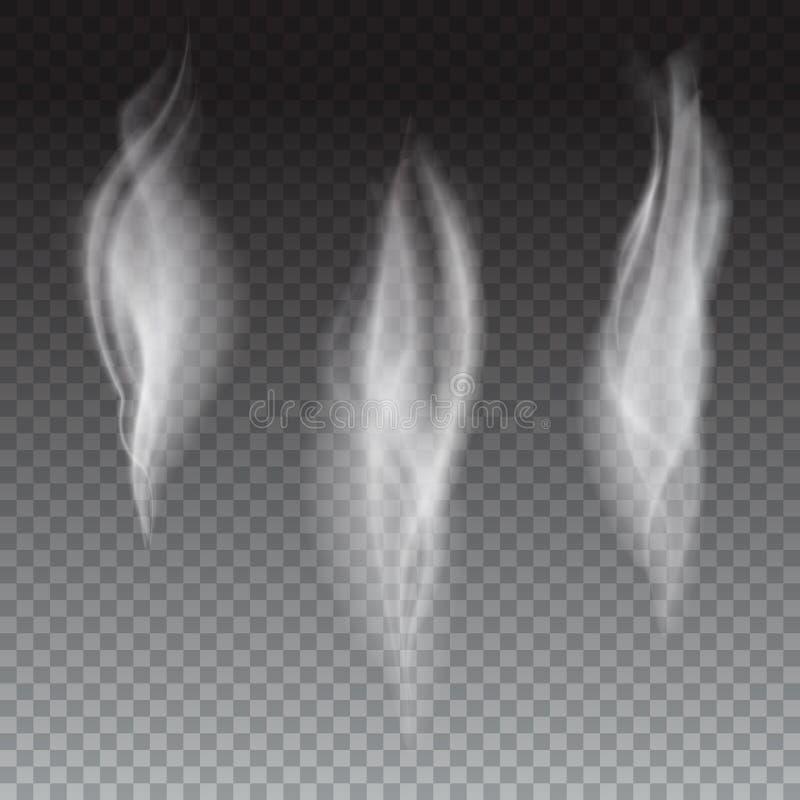 Satz empfindlicher weißer Zigarettenrauch bewegt auf transparenten Hintergrund, digitaler realistischer Rauch, Illustration des V lizenzfreie abbildung