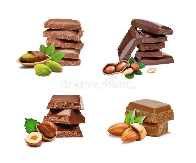 Satz Erdnüsse, Haselnüsse, Pistazien, Mandeln und Schokolade vektor abbildung