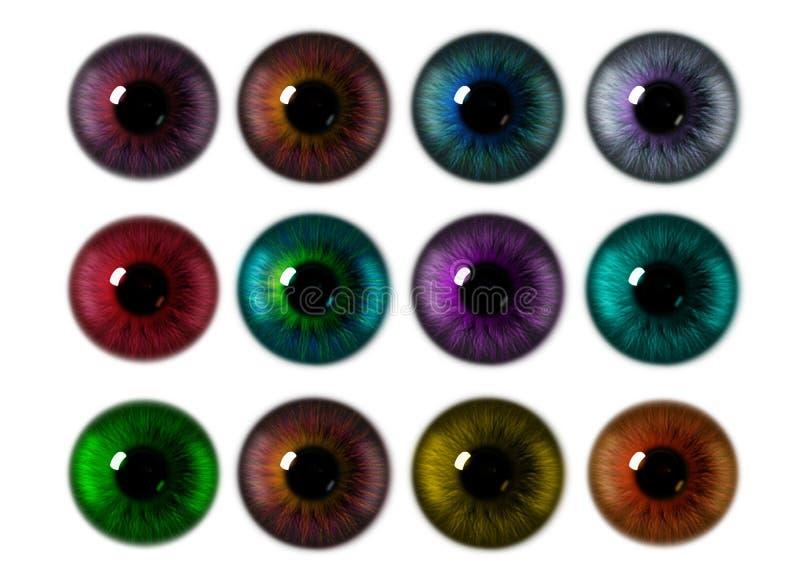Satz erzeugte Beschaffenheiten des Auges Iris lizenzfreie abbildung
