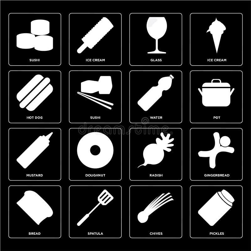 Satz Essiggurken, Schnittlauche, Brot, Rettich, Senf, Wasser, Hotdog, stock abbildung