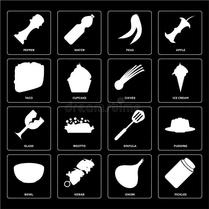 Satz Essiggurken, Zwiebel, Schüssel, Spachtel, Glas, Schnittlauche, Taco, Erbsen, vektor abbildung