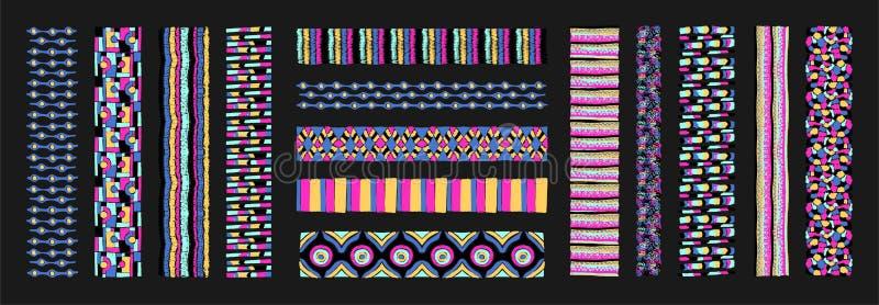 Satz ethnische Kunstbürsten in der afrikanischen Art Das aztekische Muster Orientalischer Spitzehahn lizenzfreie abbildung