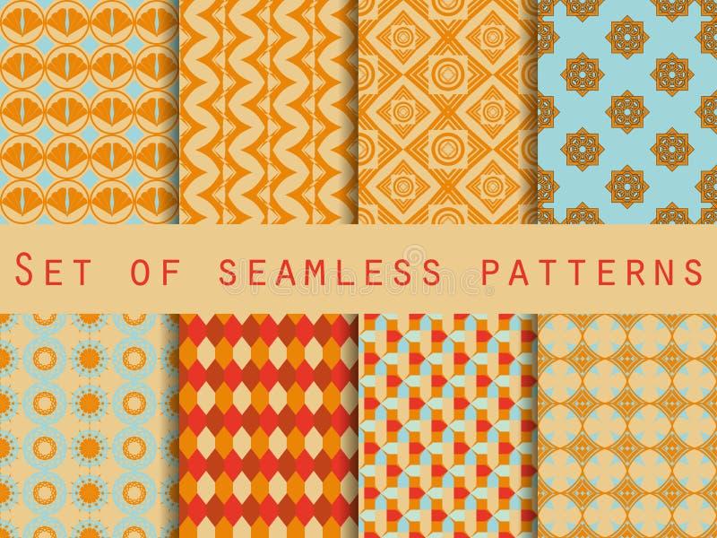 Satz ethnische nahtlose Muster Das Muster für Tapete, Fliesen, Gewebe und Designe lizenzfreie abbildung