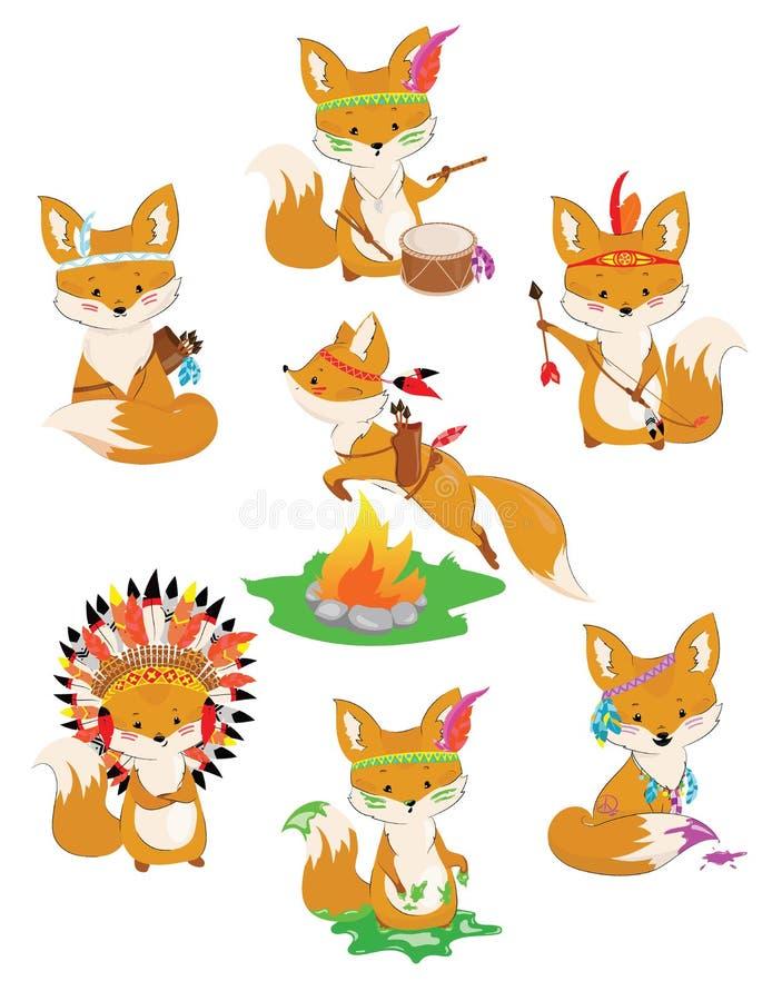Satz Füchse von Indern Sammlung kleine nette Füchse in den indischen Kostümen bunte Vektorillustration für Kinder vektor abbildung