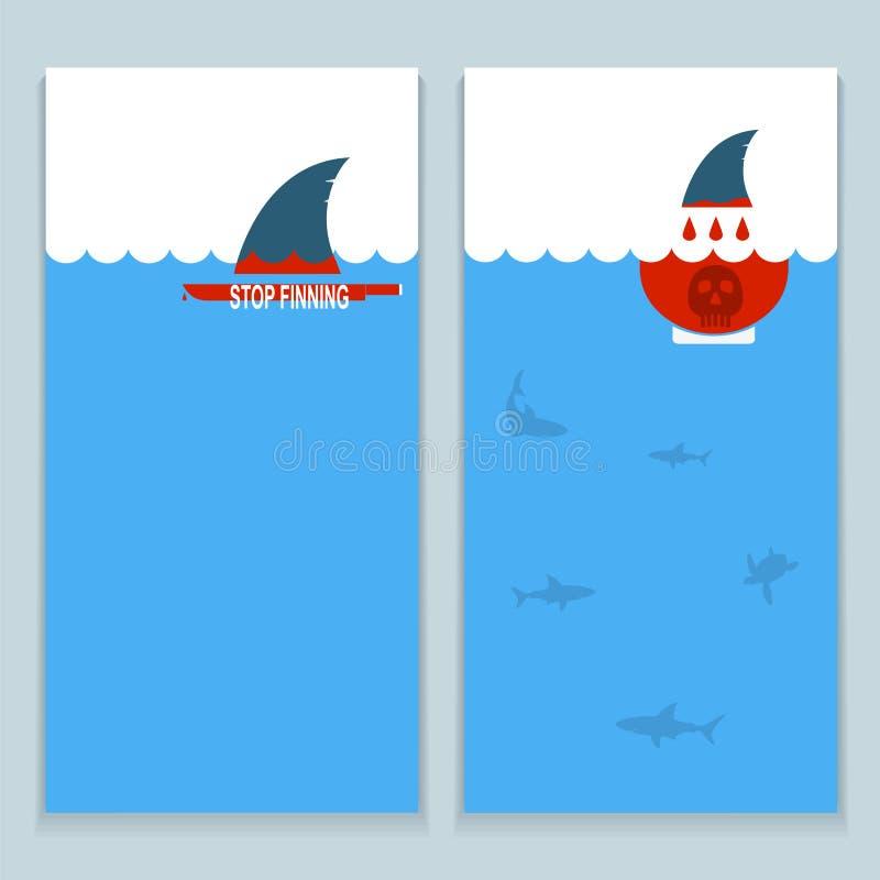 Satz Fahnen über Abwehrhaifische und unterseeische Welt stock abbildung
