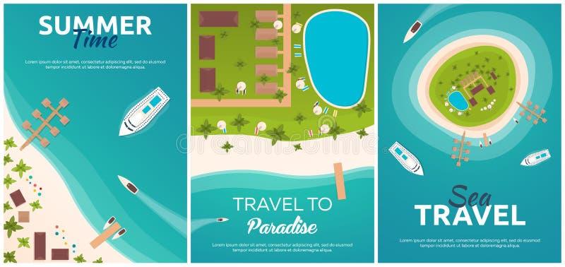 Satz Fahnen bunter Reise zum Paradies Tropischer Strand Beste Kreuzfahrt Flache Fahne des Vektors für Ihr Geschäft lizenzfreie abbildung