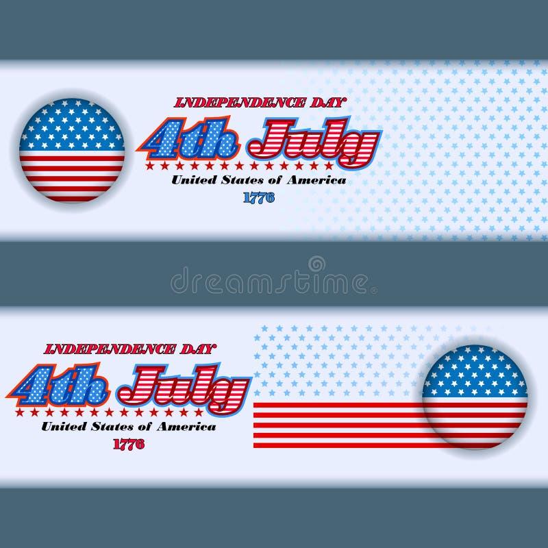 Satz Fahnen entwerfen für Viertel von Juli, amerikanischer Unabhängigkeitstag lizenzfreie abbildung