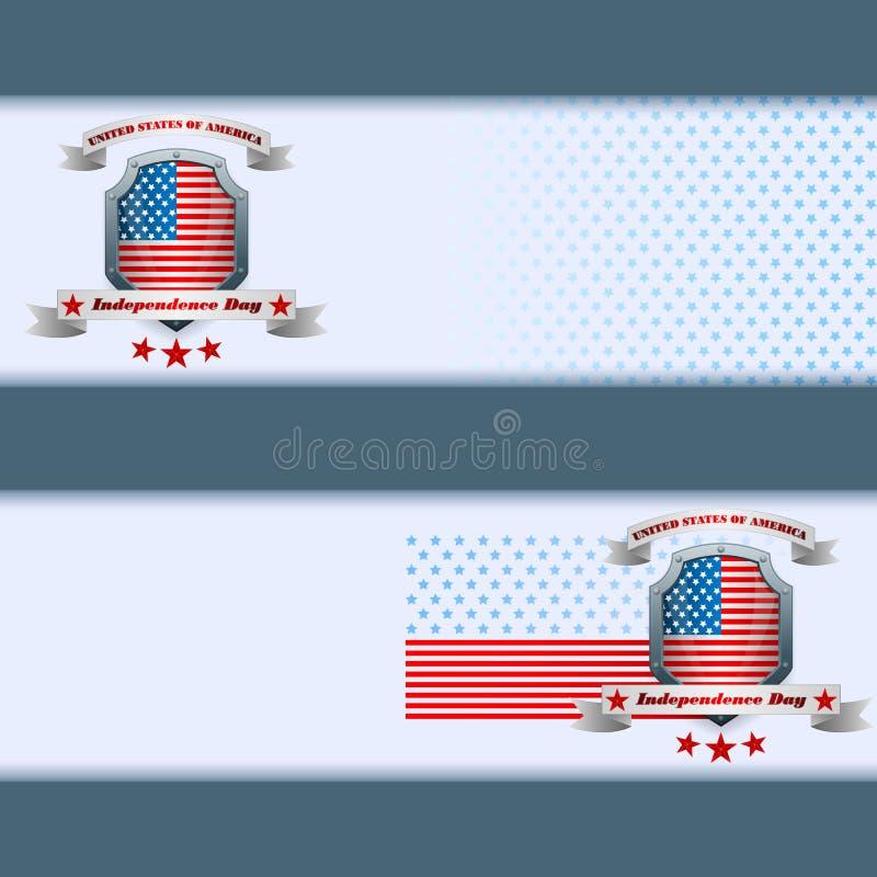 Satz Fahnen entwerfen mit Sternen auf Staatsflagge für Viertel von Juli, amerikanischer Unabhängigkeitstag lizenzfreie abbildung