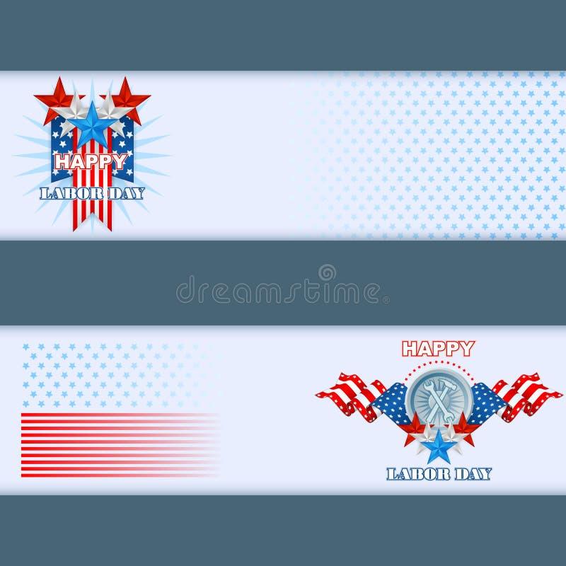 Satz Fahnen entwerfen mit Sternen und Staatsflaggefarben für amerikanischen Werktag lizenzfreie abbildung