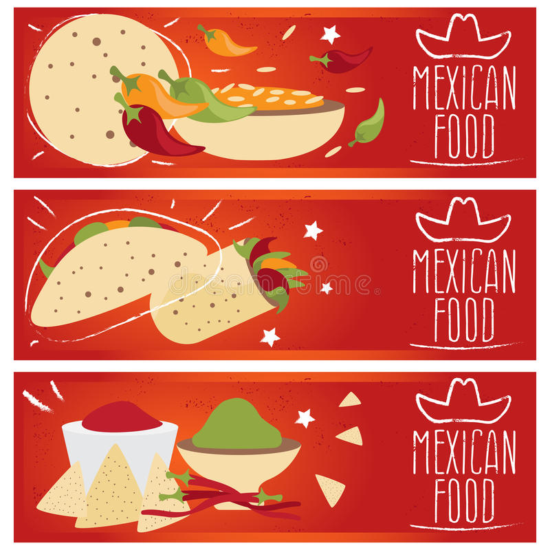 Satz Fahnen für verschiedene Geschmäcke f der mexikanischen Küche des Themas vektor abbildung