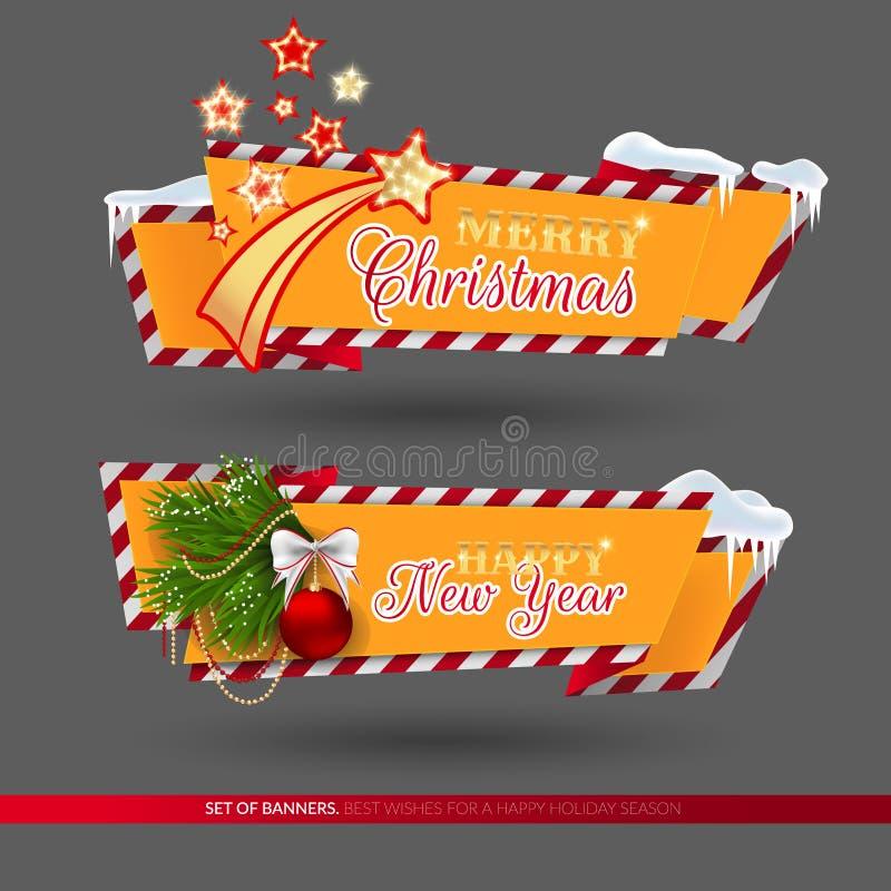 Satz Fahnen für Weihnachten und Neujahrsfeiertage lizenzfreie abbildung