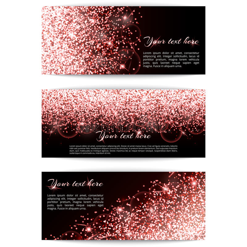 Satz Fahnen mit rosa Scheinen stock abbildung