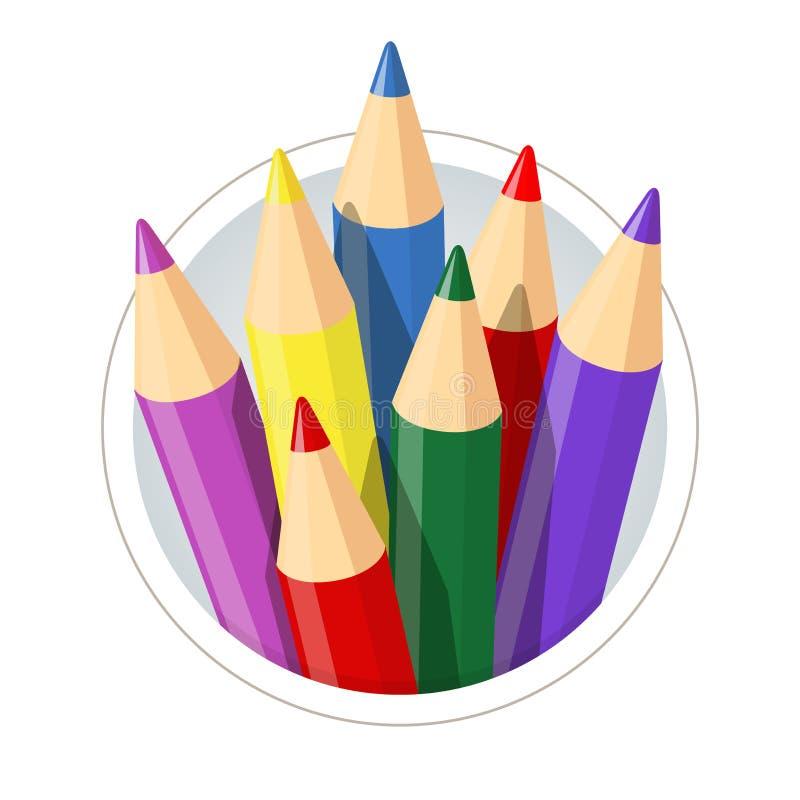Satz Farbbleistifte für das Zeichnen vektor abbildung