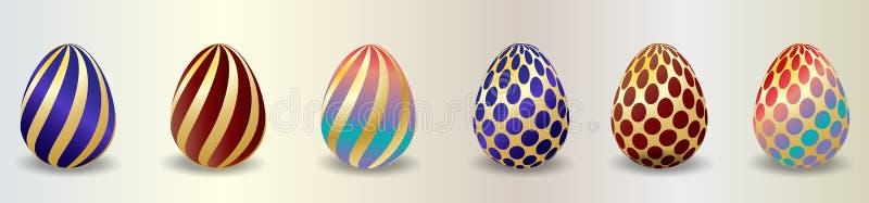 Satz Farbe-Ostereier mit Schatten Traditionelles Symbol von Ostern lokalisierte auf wei?em Hintergrund r lizenzfreie abbildung