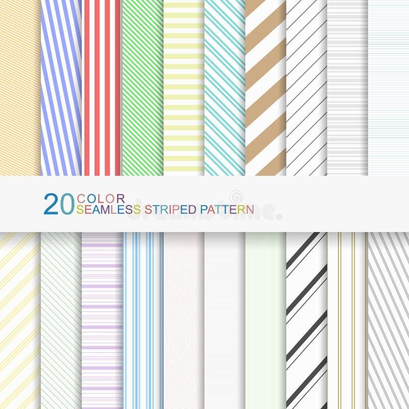 Satz Farbgestreifte Muster, nahtlose Vektorhintergründe für Ihr Design vektor abbildung