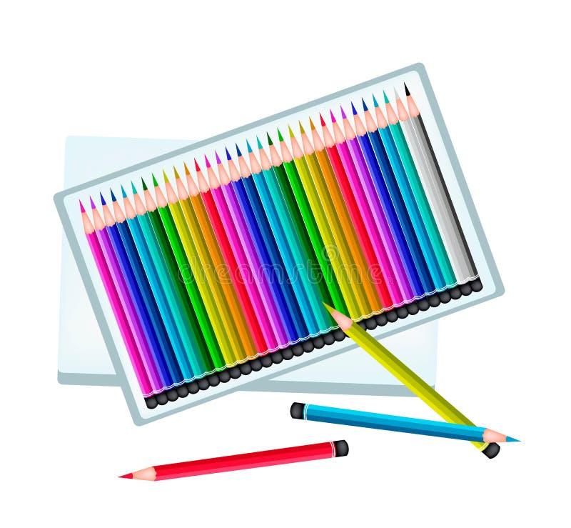 Satz farbige Bleistifte in einem Kasten vektor abbildung