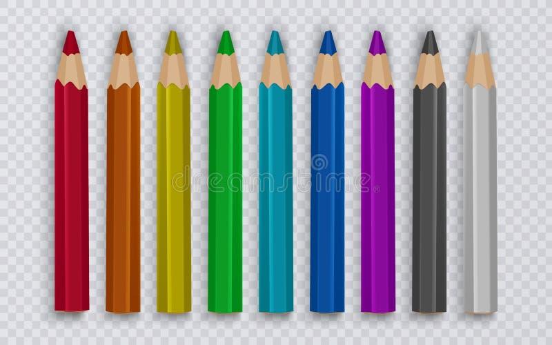 Satz farbige Bleistifte, zum auf transparenten Hintergrund, Werkzeuge für Kreativität und Schulen, Vektorillustration zu zeichnen vektor abbildung