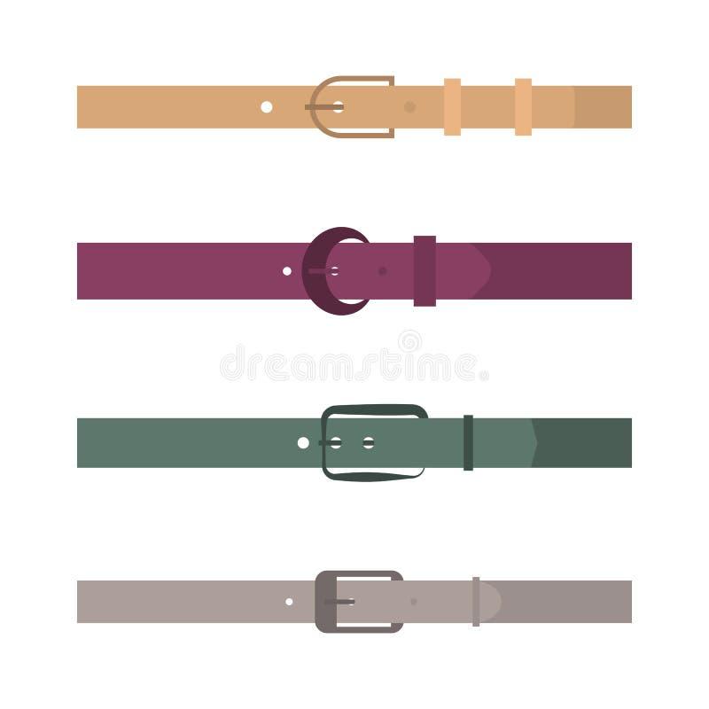 Satz farbige Gurte der unterschiedlichen Ebene, Vektorillustration lizenzfreie abbildung