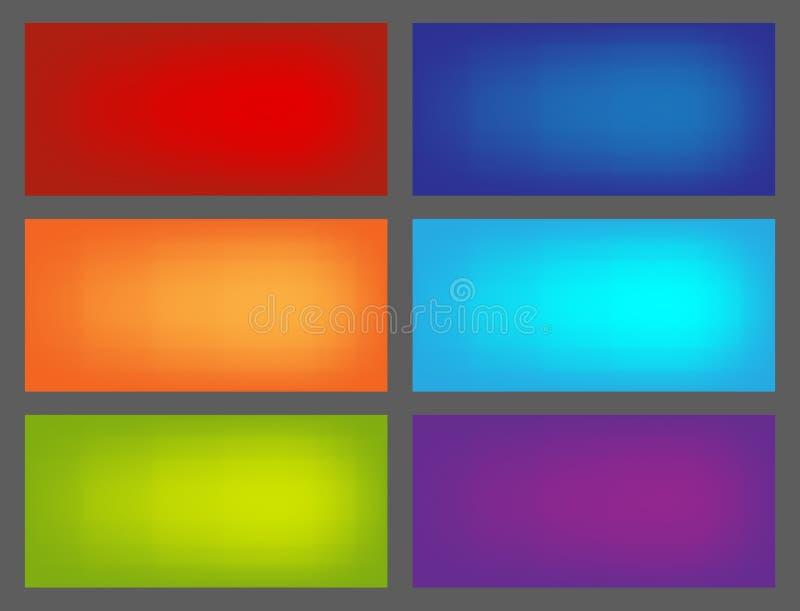 Satz farbige Hintergründe für euroflayer Format stock abbildung
