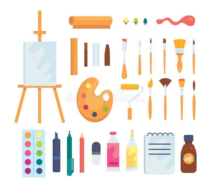 Satz farbige malende Werkzeugvektorikonen in der Karikaturart Versorgungen, Kunstbürsten und Gestell Künstler oder Schule vektor abbildung