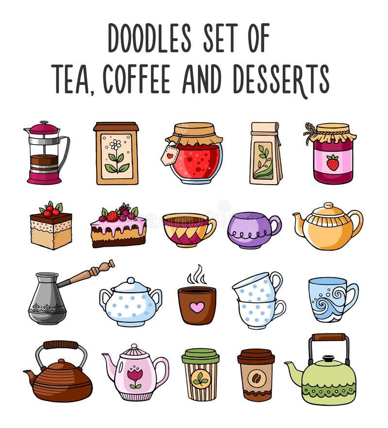 Satz farbige Skizzen von Teekannen, Schalen, Tee, Kaffee vektor abbildung