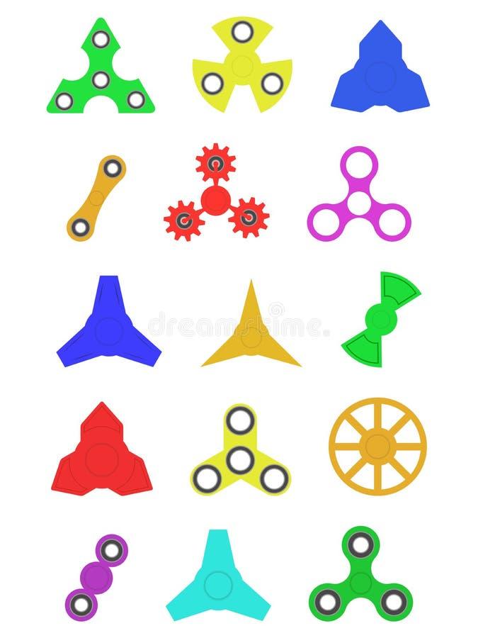 Satz farbige Spinner auf lokalisiertem Hintergrund lizenzfreie abbildung