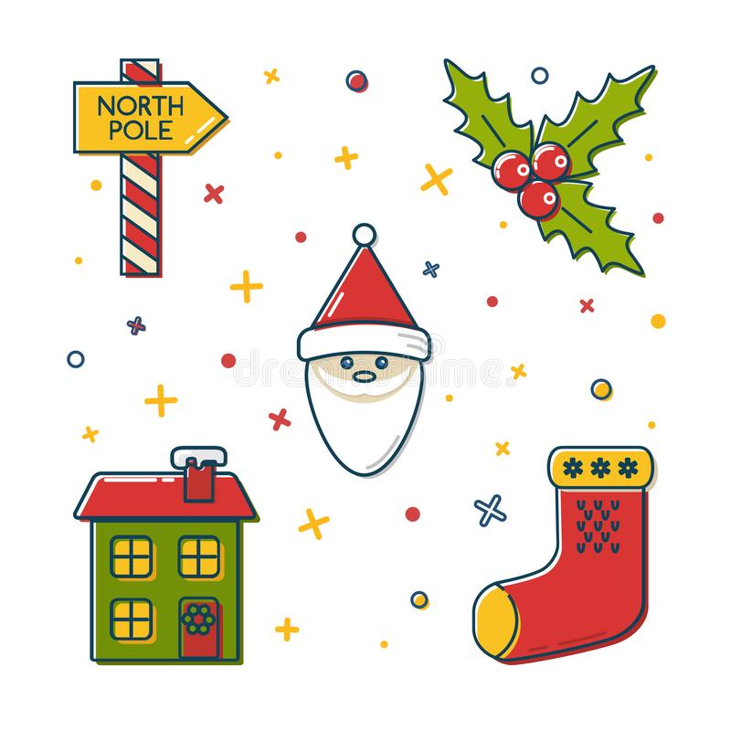 Satz farbige Weihnachtsikonen in der dünnen Linie Art vektor abbildung