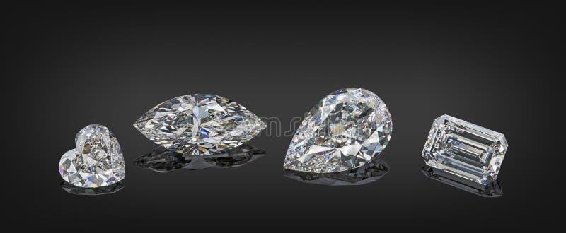 Satz farblose transparente funkelnde Luxusedelsteine der verschiedenen Schnittform-Diamantcollage lokalisiert auf schwarzem Hinte stockbild