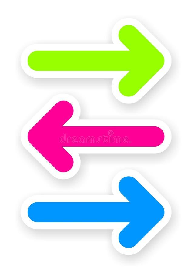 Satz Farbpfeilaufkleber stock abbildung