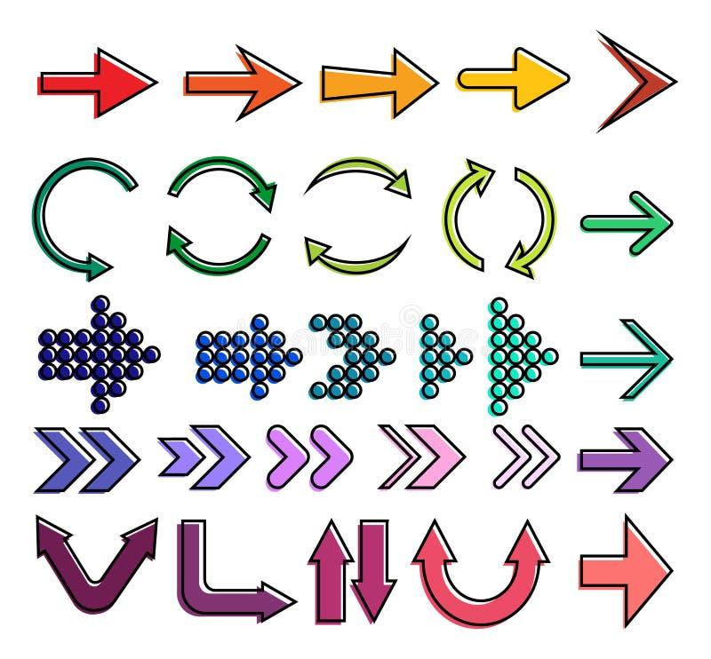 Satz Farbpfeile Pfeilikone Pfeilikone pfeil vektor abbildung