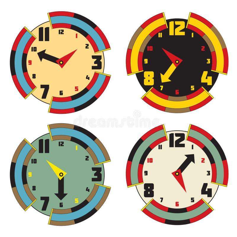 Satz Farbuhren Modernes Design der Gesichtsuhr Vektor eps10 illu stock abbildung