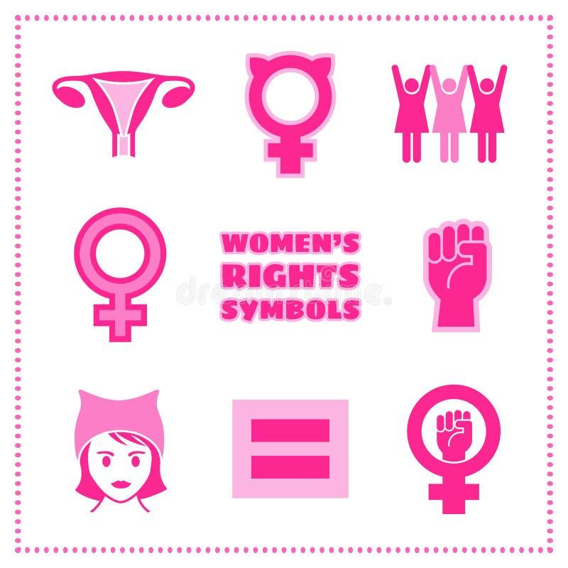 Satz feministische Symbole des Vektors für Frauen ` s Bezugsrechte lizenzfreie abbildung