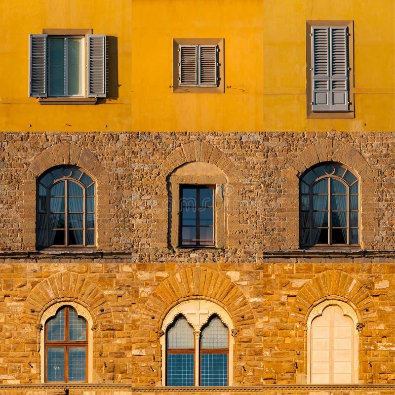 Satz Fenster von Altbauten in Florenz lizenzfreie stockfotografie