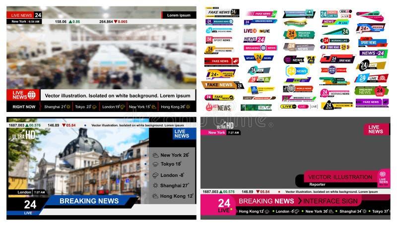 Satz Fernsehnachrichtenstangen Design-Nachrichtenzeichen, Video strömend Brechen, Fälschung, Sportnachrichten Schnittstellen-Zeic lizenzfreie abbildung