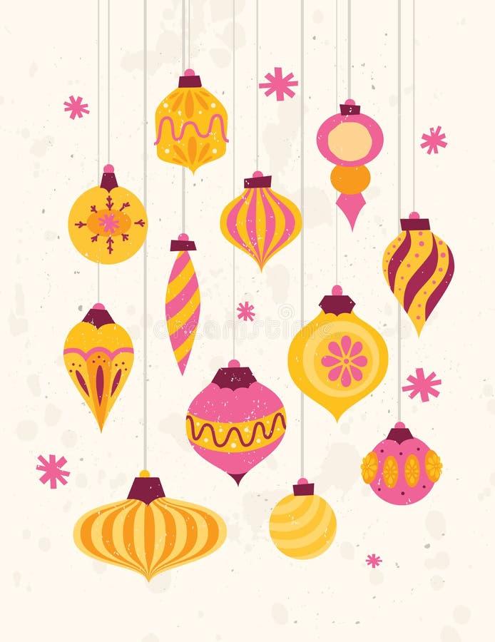 Satz festliches Retro- Weihnachten verziert Art 50s vektor abbildung